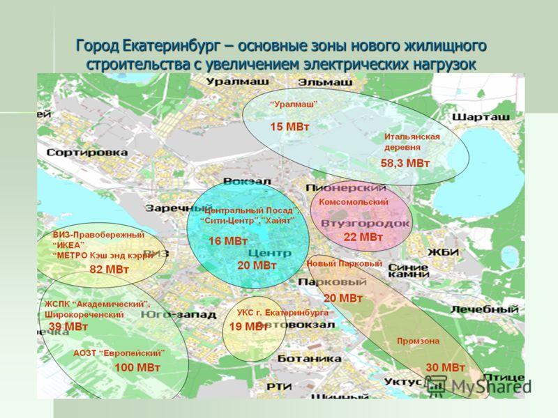 9 Город Екатеринбург – основные зоны нового жилищного строительства с увеличением электрических нагрузок
