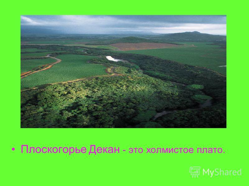 Плоскогорье Декан - это холмистое плато.