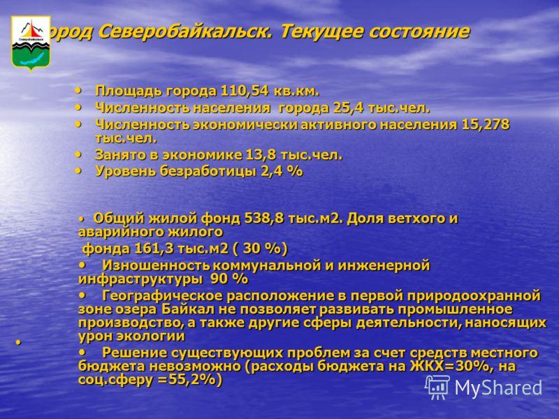 Город Северобайкальск. Текущее состояние Площадь города 110,54 кв.км. Площадь города 110,54 кв.км. Численность населения города 25,4 тыс.чел. Численность населения города 25,4 тыс.чел. Численность экономически активного населения 15,278 тыс.чел. Числ