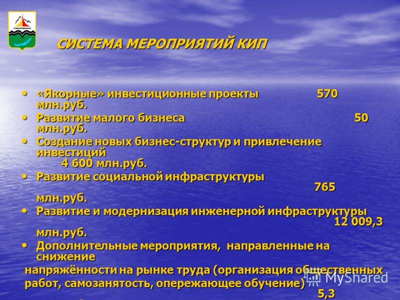 «Якорные» инвестиционные проекты 570 млн.руб. «Якорные» инвестиционные проекты 570 млн.руб. Развитие малого бизнеса 50 млн.руб. Развитие малого бизнеса 50 млн.руб. Создание новых бизнес-структур и привлечение инвестиций 4 600 млн.руб. Создание новых