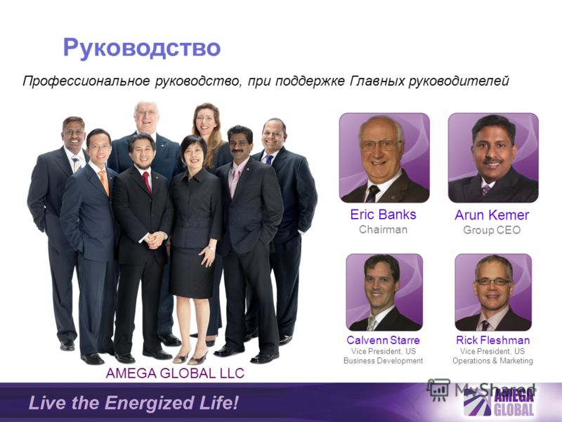 AMEGA GLOBAL LLC Arun Kemer Group CEO Rick Fleshman Vice President, US Operations & Marketing Calvenn Starre Vice President, US Business Development Eric Banks Chairman Профессиональное руководство, при поддержке Главных руководителей Руководство