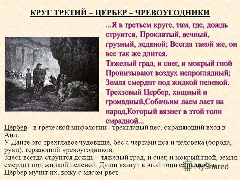 КРУГ ТРЕТИЙ – ЦЕРБЕР – ЧРЕВОУГОДНИКИ Цербер - в греческой мифологии - трехглавый пес, охраняющий вход в Аид. У Данте это трехглавое чудовище, бес с чертами пса и человека (борода, руки), терзающий чревоугодников. Здесь всегда струится дождь – тяжелый