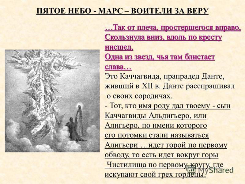 ПЯТОЕ НЕБО - МАРС – ВОИТЕЛИ ЗА ВЕРУ …Так от плеча, простершегося вправо, Скользнула вниз, вдоль по кресту нисшед, Одна из звезд, чья там блистает слава… Это Каччагвида, прапрадед Данте, живший в XII в. Данте расспрашивал о своих сородичах. о своих со