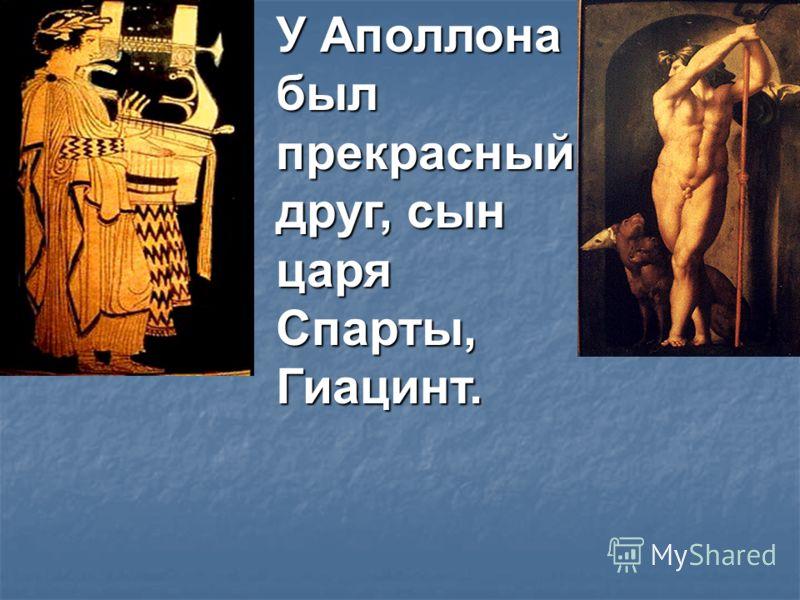 У Аполлона был прекрасный друг, сын царя Спарты, Гиацинт.
