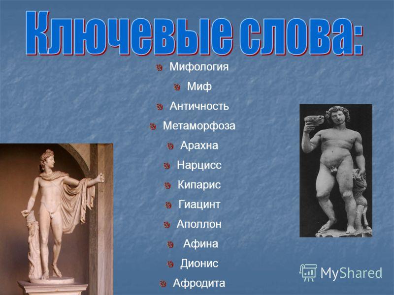 Мифология Миф Античность Метаморфоза Арахна Нарцисс Кипарис Гиацинт Аполлон Афина Дионис Афродита