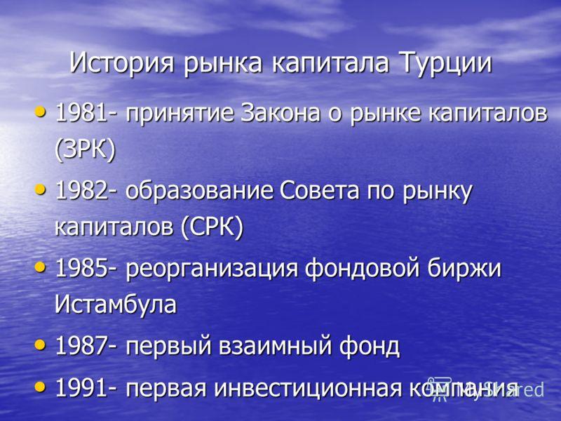 История рынка капитала Турции 1981- принятие Закона о рынке капиталов (ЗРК) 1981- принятие Закона о рынке капиталов (ЗРК) 1982- образование Совета по рынку капиталов (СРК) 1982- образование Совета по рынку капиталов (СРК) 1985- реорганизация фондовой