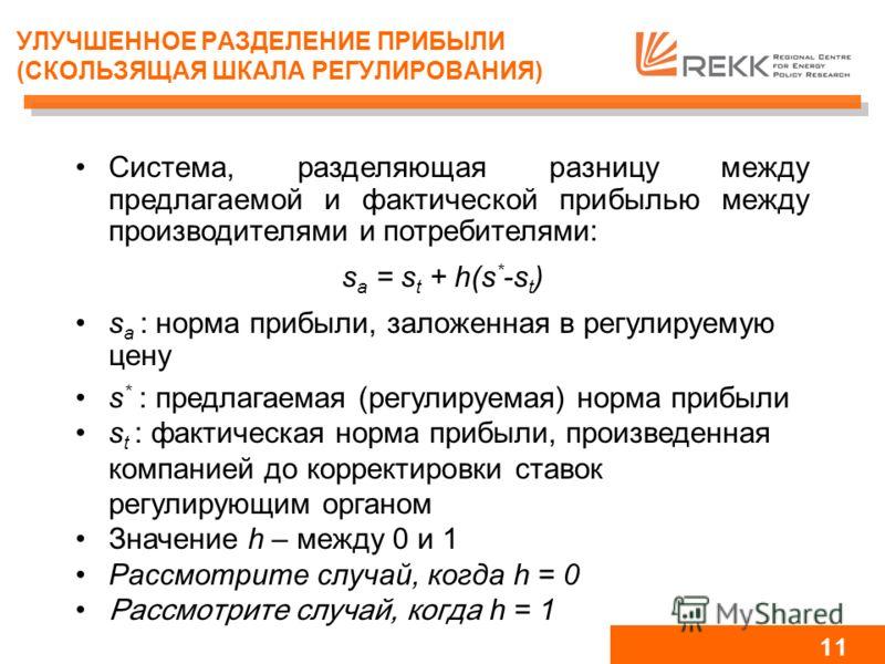 10 ЦЕНОВОЙ ПРЕДЕЛ: РЕГУЛИРУЕМАЯ в сравнении с ФАКТИЧЕСКОЙ НОРМОЙ ПРИБЫЛИ Проблема: объяснить, когда фактическая прибыль >> предлагаемой регулируемой прибыли Прибыль на капитал в отрасли распределения в Венгрии 1997-2002 гг. 0,00% 2,00% 4,00% 6,00% 8,