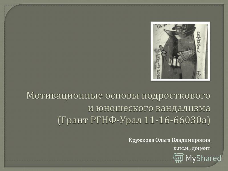 Кружкова Ольга Владимировна к. пс. н., доцент