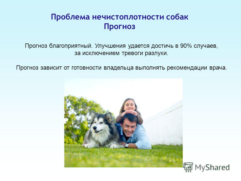 Проблема нечистоплотности собак Прогноз Прогноз благоприятный. Улучшения удается достичь в 90% случаев, за исключением тревоги разлуки. Прогноз зависит от готовности владельца выполнять рекомендации врача.