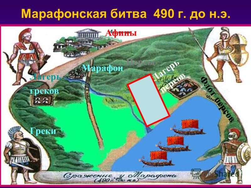 Греки Персы Марафон Лагерь греков Лагерь персов Афины Флот персов Марафонская битва 490 г. до н.э.
