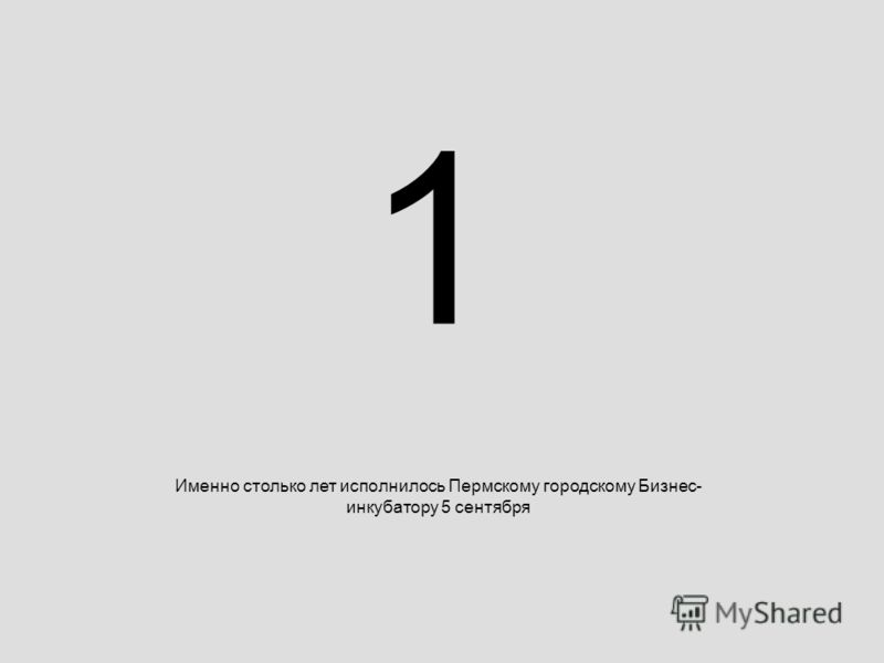 1 Именно столько лет исполнилось Пермскому городскому Бизнес- инкубатору 5 сентября