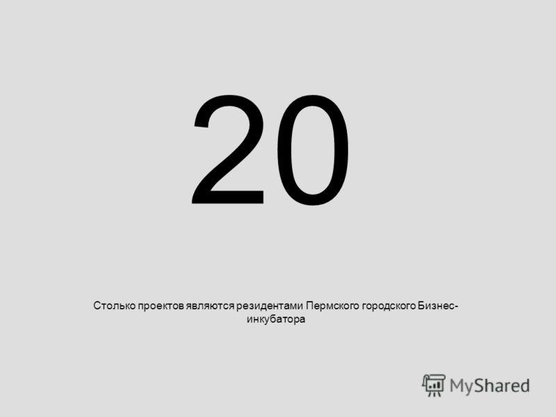 20 Столько проектов являются резидентами Пермского городского Бизнес- инкубатора