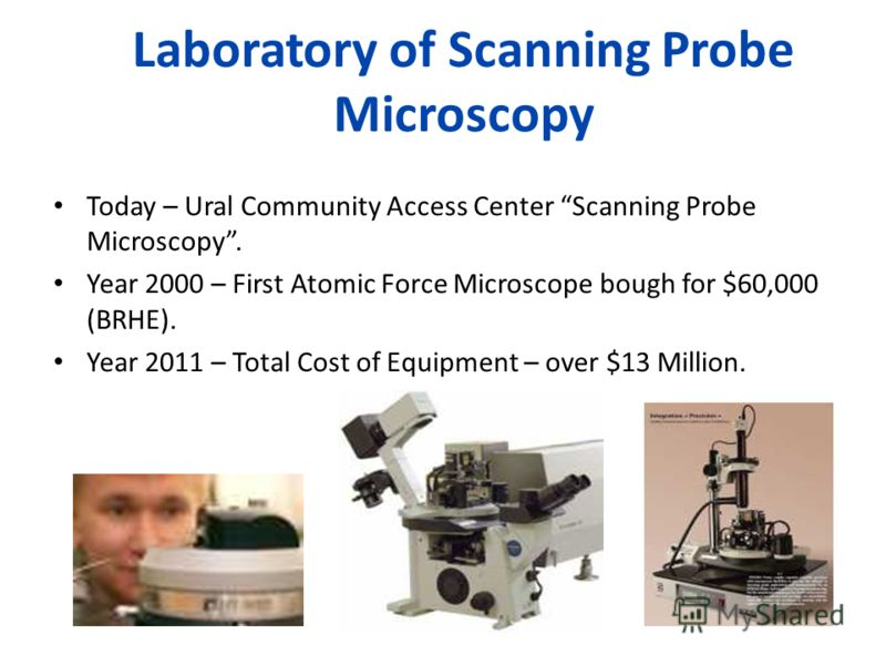 Laboratory of Scanning Probe Microscopy Today – Ural Community Access Center Scanning Probe Microscopy. Year 2000 – First Atomic Force Microscope bough for $60,000 (BRHE). Year 2011 – Total Cost of Equipment – over $13 Million.
