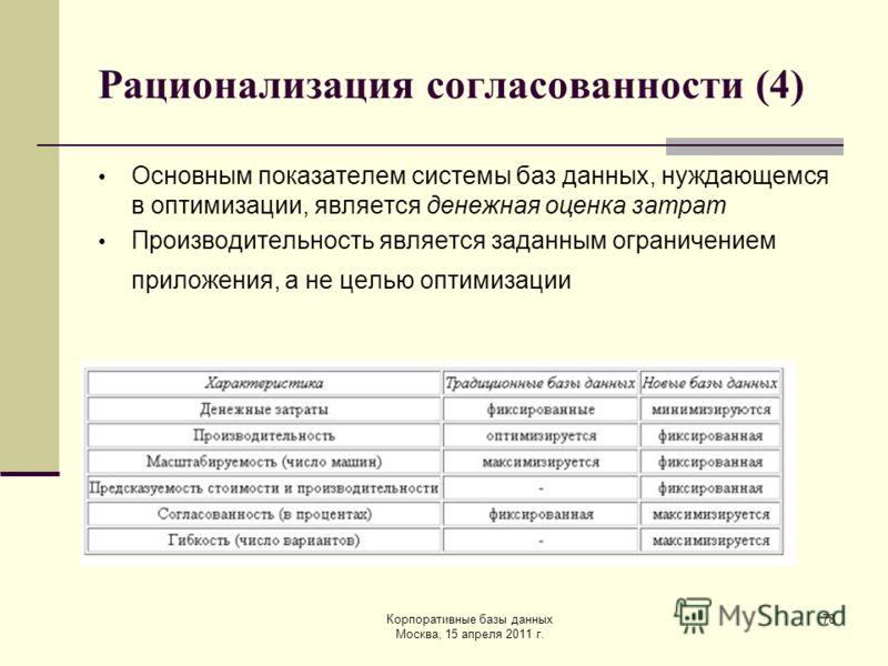 Корпоративные базы данных Москва, 15 апреля 2011 г. 78 Рационализация согласованности (4) Основным показателем системы баз данных, нуждающемся в оптимизации, является денежная оценка затрат Производительность является заданным ограничением приложения