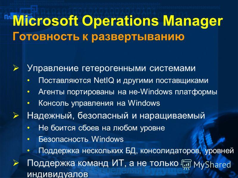 Microsoft Operations Manager Готовность к развертыванию Управление гетерогенными системами Поставляются NetIQ и другими поставщиками Агенты портированы на не-Windows платформы Консоль управления на Windows Надежный, безопасный и наращиваемый Не боитс