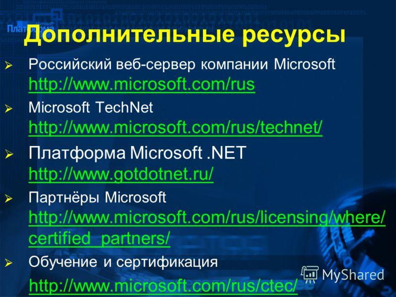 Дополнительные ресурсы Российский веб-сервер компании Microsoft http://www.microsoft.com/rus http://www.microsoft.com/rus Microsoft TechNet http://www.microsoft.com/rus/technet/ http://www.microsoft.com/rus/technet/ Платформа Microsoft.NET http://www
