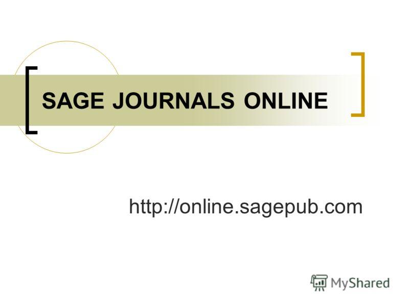 http://online.sagepub.com SAGE JOURNALS ONLINE