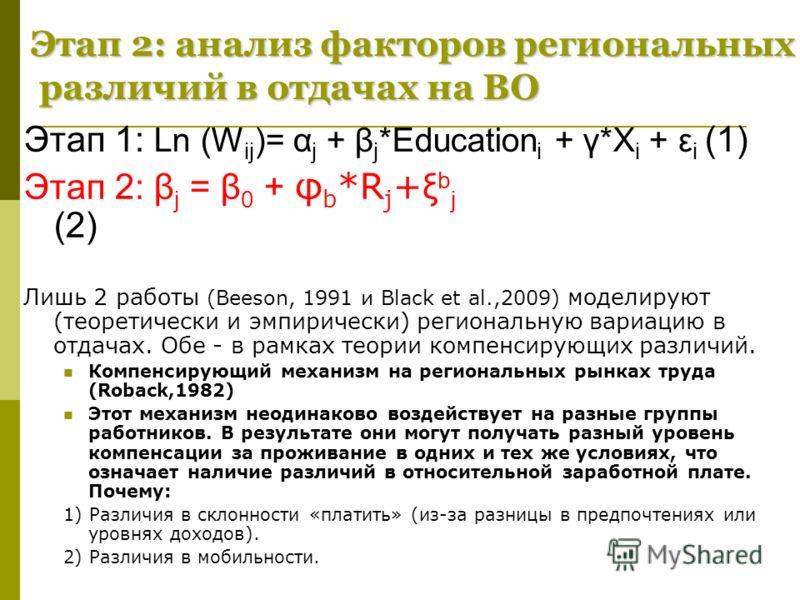 Этап 2: анализ факторов региональных различий в отдачах на ВО Этап 1: Ln (W ij )= α j + β j *Education i + γ*X i + ε i (1) Этап 2: β j = β 0 + φ b *R j + ξ b j (2) Лишь 2 работы (Beeson, 1991 и Black et al.,2009) моделируют (теоретически и эмпирическ