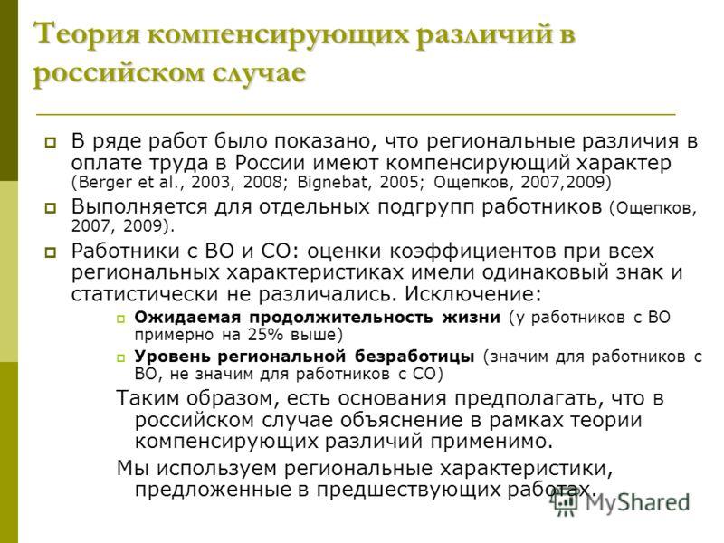 Теория компенсирующих различий в российском случае В ряде работ было показано, что региональные различия в оплате труда в России имеют компенсирующий характер (Вerger et al., 2003, 2008; Bignebat, 2005; Ощепков, 2007,2009) Выполняется для отдельных п