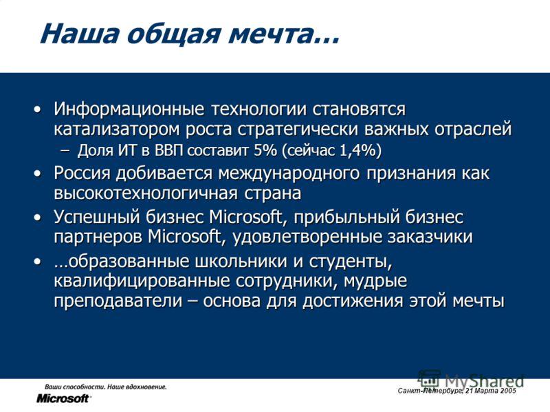 Санкт-Петербург, 21 Марта 2005 Наша общая мечта… Информационные технологии становятся катализатором роста стратегически важных отраслейИнформационные технологии становятся катализатором роста стратегически важных отраслей –Доля ИТ в ВВП составит 5% (