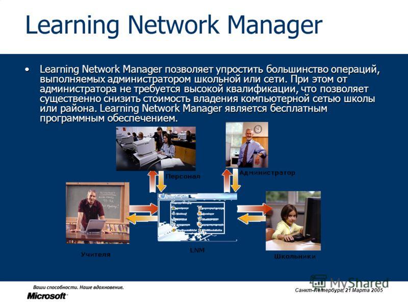 Санкт-Петербург, 21 Марта 2005 Learning Network Manager Learning Network Manager позволяет упростить большинство операций, выполняемых администратором школьной или сети. При этом от администратора не требуется высокой квалификации, что позволяет суще