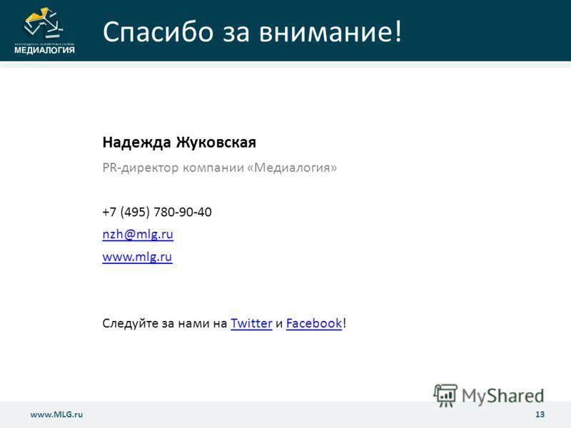www.MLG.ru13 www.MLG.ru Спасибо за внимание! Надежда Жуковская PR-директор компании «Медиалогия» +7 (495) 780-90-40 nzh@mlg.ru www.mlg.ru Следуйте за нами на Twitter и Facebook!TwitterFacebook