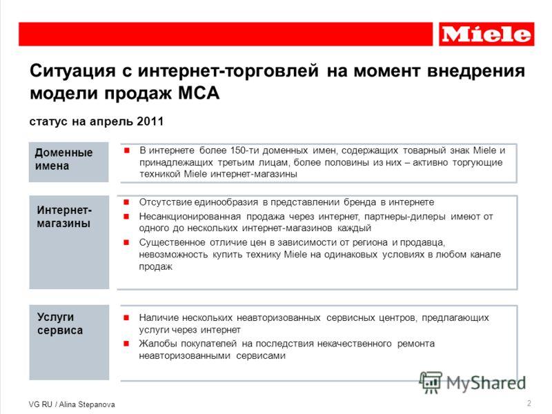 Ситуация с интернет-торговлей на момент внедрения модели продаж MCA 2 статус на апрель 2011 В интернете более 150-ти доменных имен, содержащих товарный знак Miele и принадлежащих третьим лицам, более половины из них – активно торгующие техникой Miele