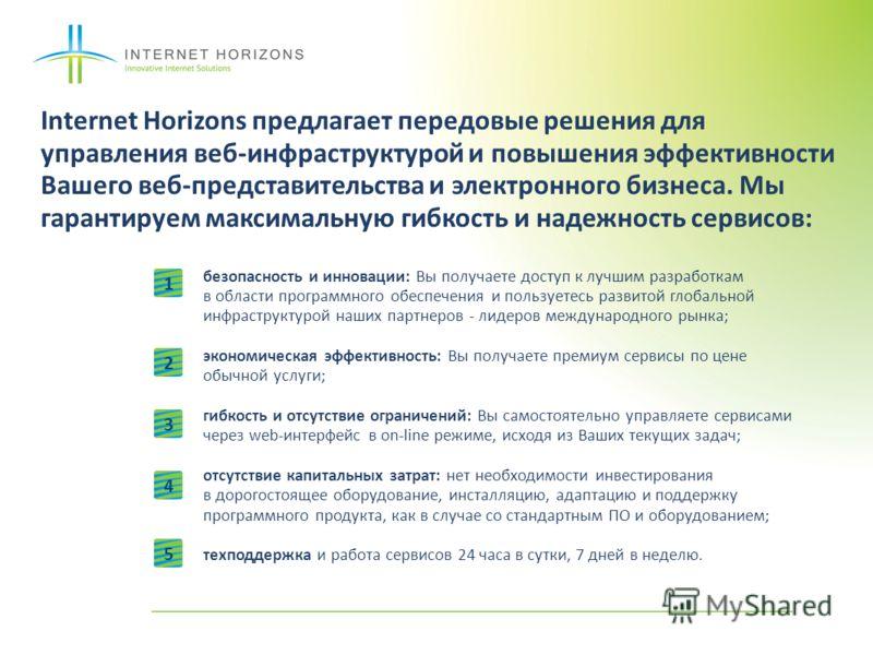 Internet Horizons предлагает передовые решения для управления веб-инфраструктурой и повышения эффективности Вашего веб-представительства и электронного бизнеса. Мы гарантируем максимальную гибкость и надежность сервисов: безопасность и инновации: Вы