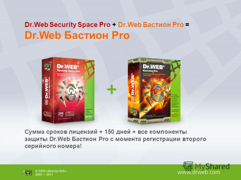 Сумма сроков лицензий + 150 дней + все компоненты защиты Dr.Web Бастион Pro с момента регистрации второго серийного номера! Dr.Web Security Space Pro + Dr.Web Бастион Pro = Dr.Web Бастион Pro +