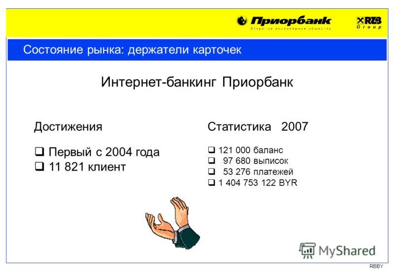 RBBY Состояние рынка: держатели карточек Интернет-банкинг Приорбанк Достижения Первый с 2004 года 11 821 клиент Статистика 2007 121 000 баланс 97 680 выписок 53 276 платежей 1 404 753 122 BYR