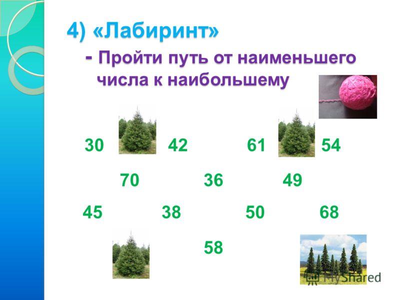 4) «Лабиринт» - Пройти путь от наименьшего числа к наибольшему 30 42 61 54 70 36 49 45 38 50 68 58