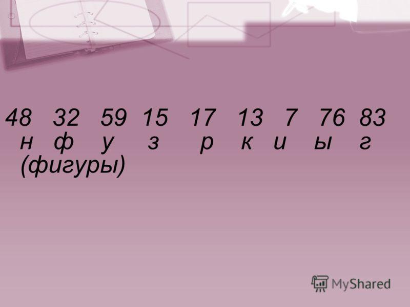 48 32 59 15 17 13 7 76 83 н ф у з р к и ы г (фигуры)