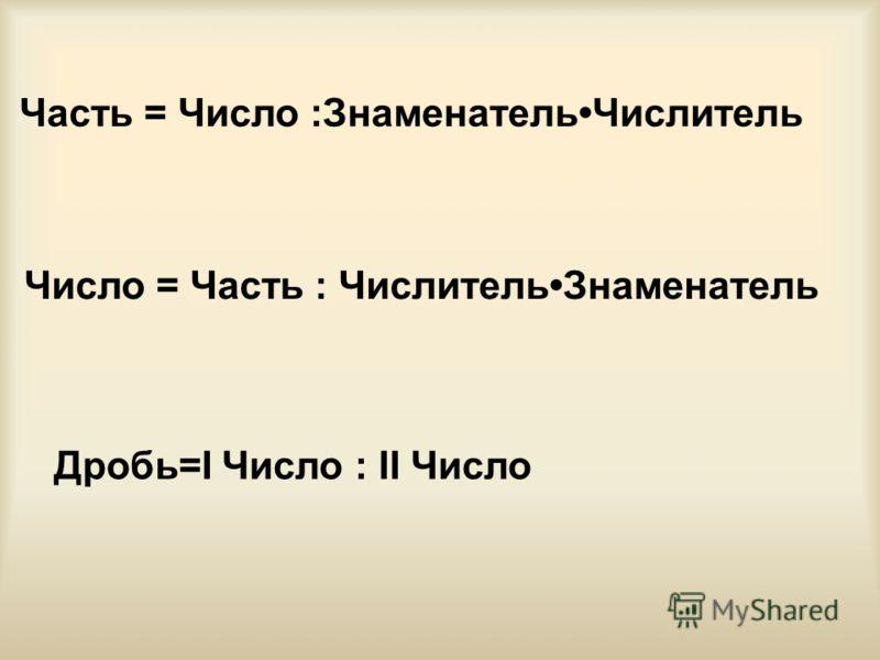 Часть = Число :ЗнаменательЧислитель Число = Часть : ЧислительЗнаменатель Дробь=I Число : II Число