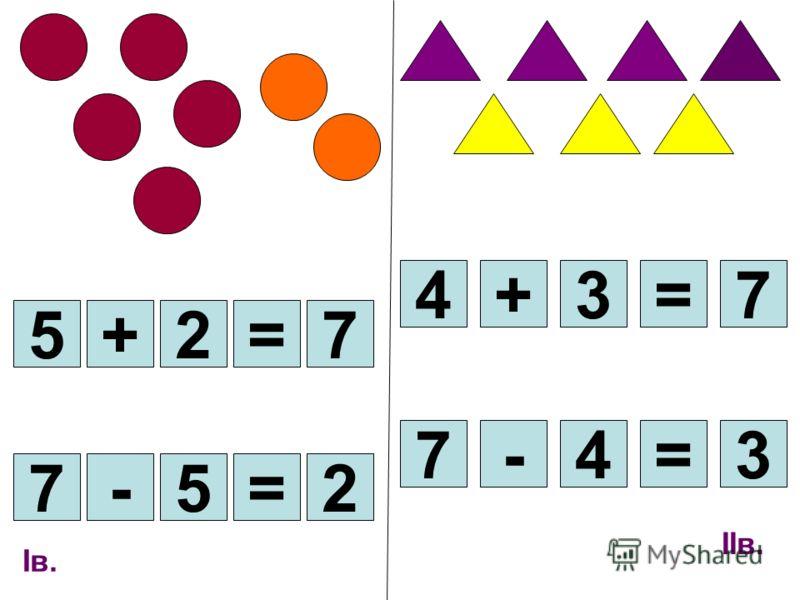 Iв. 5+2= 3=4-7 7=3+4 7 2=5-7 IIв.