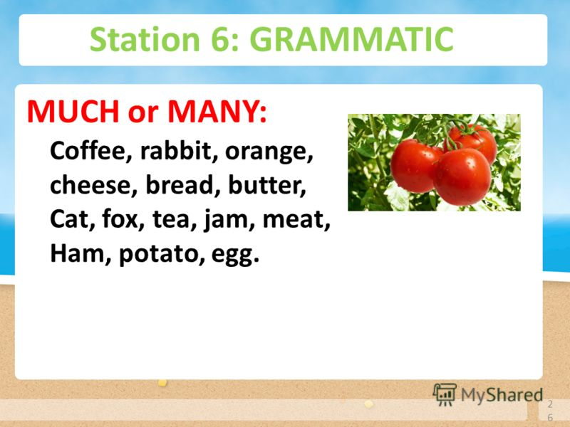 Station 6: GRAMMATIC 26 MUCH or MANY: Coffee, rabbit, orange, cheese, bread, butter, Cat, fox, tea, jam, meat, Ham, potato, egg.