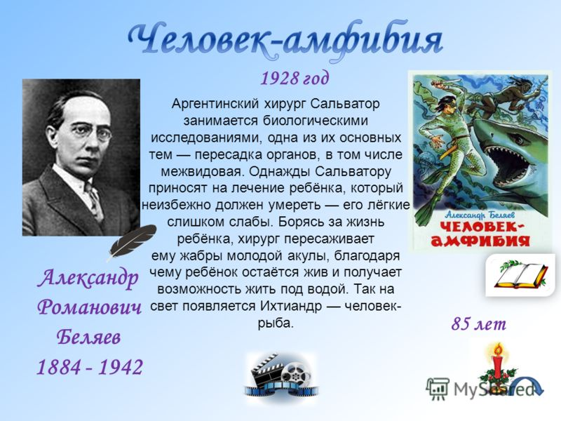 Александр Романович Беляев 1884 - 1942 Аргентинский хирург Сальватор занимается биологическими исследованиями, одна из их основных тем пересадка органов, в том числе межвидовая. Однажды Сальватору приносят на лечение ребёнка, который неизбежно должен