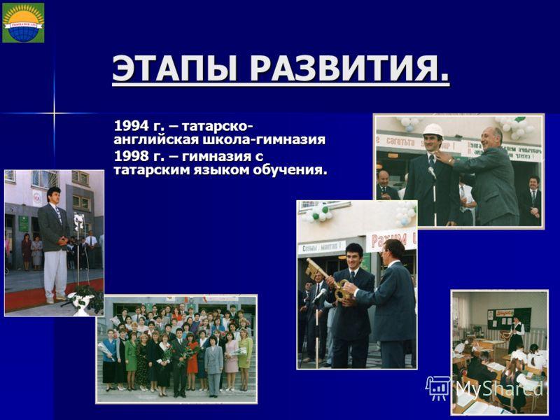 ЭТАПЫ РАЗВИТИЯ. 1994 г. – татарско- английская школа-гимназия 1998 г. – гимназия с татарским языком обучения.