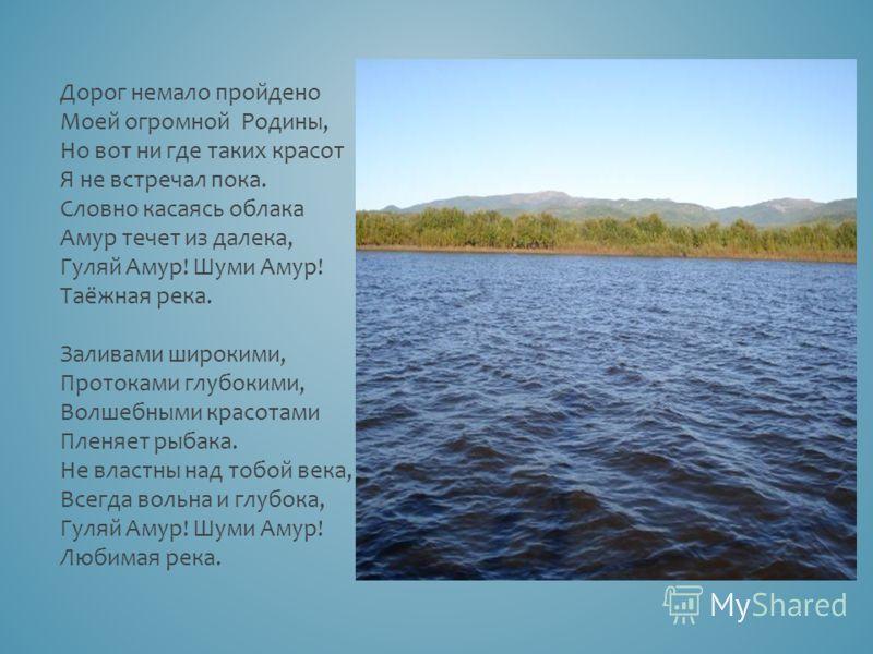 Дорог немало пройдено Моей огромной Родины, Но вот ни где таких красот Я не встречал пока. Словно касаясь облака Амур течет из далека, Гуляй Амур! Шуми Амур! Таёжная река. Заливами широкими, Протоками глубокими, Волшебными красотами Пленяет рыбака. Н