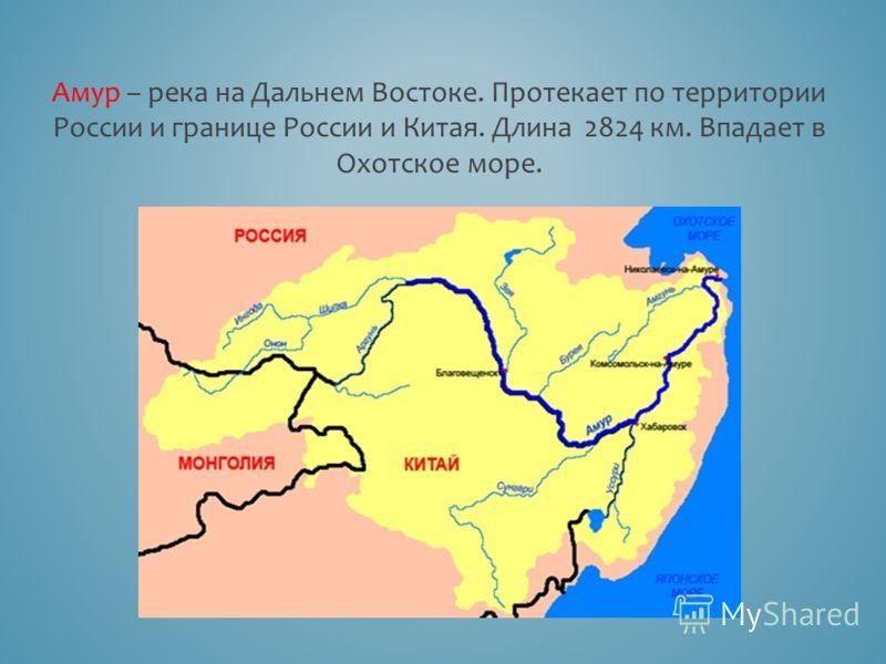Амур – река на Дальнем Востоке. Протекает по территории России и границе России и Китая. Длина 2824 км. Впадает в Охотское море.