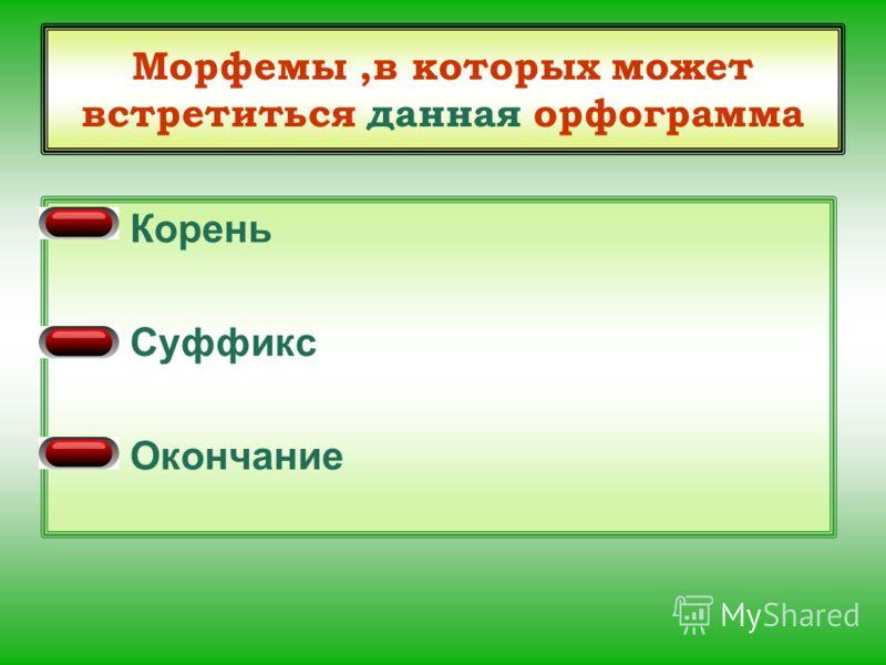 Морфемы,в которых может встретиться данная орфограмма Корень Суффикс Окончание