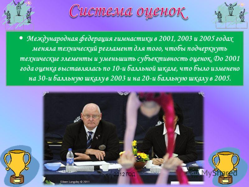 Международная федерация гимнастики в 2001, 2003 и 2005 годах меняла технический регламент для того, чтобы подчеркнуть технические элементы и уменьшить субъективность оценок. До 2001 года оценка выставлялась по 10-и балльной шкале, что было изменено н