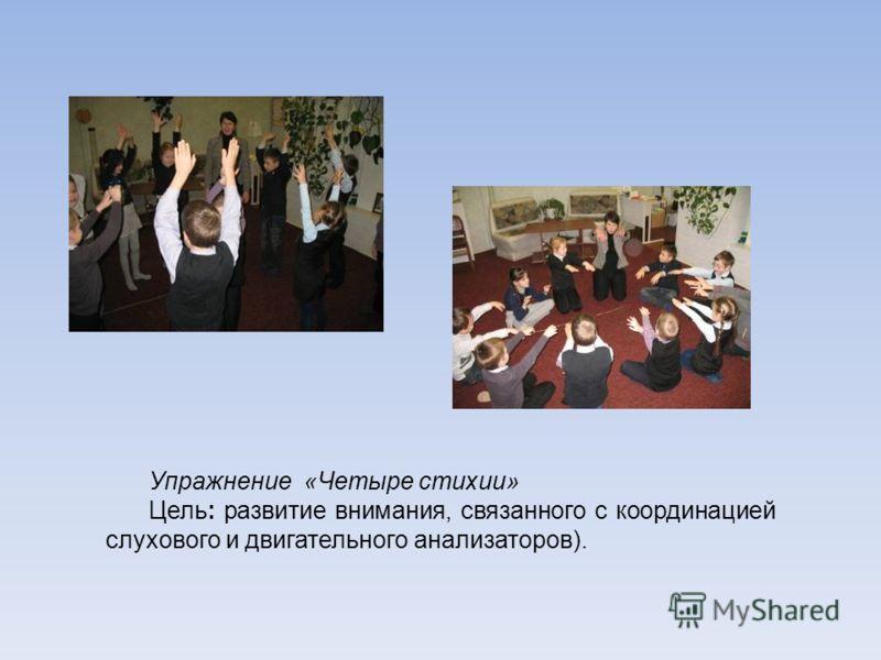 Упражнение «Четыре стихии» Цель: развитие внимания, связанного с координацией слухового и двигательного анализаторов).