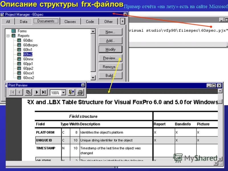 Описание структуры frx-файлов Пример отчёта «на лету» есть на сайте Microsoft
