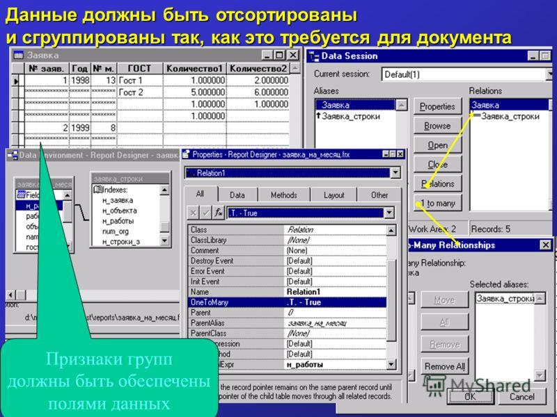 Данные должны быть отсортированы и сгруппированы так, как это требуется для документа Признаки групп должны быть обеспечены полями данных