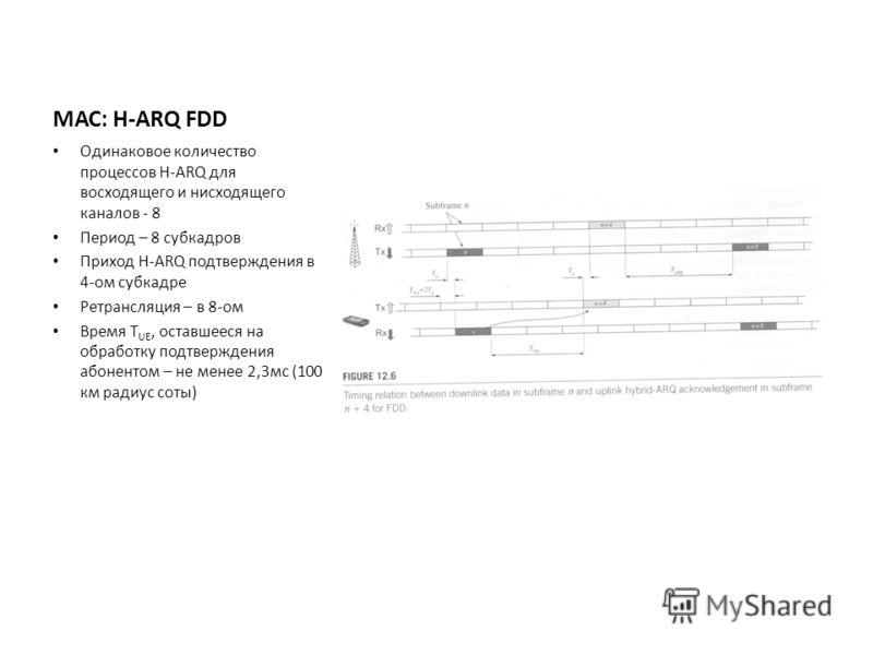 МАС: H-ARQ FDD Одинаковое количество процессов H-ARQ для восходящего и нисходящего каналов - 8 Период – 8 субкадров Приход H-ARQ подтверждения в 4-ом субкадре Ретрансляция – в 8-ом Время T UE, оставшееся на обработку подтверждения абонентом – не мене