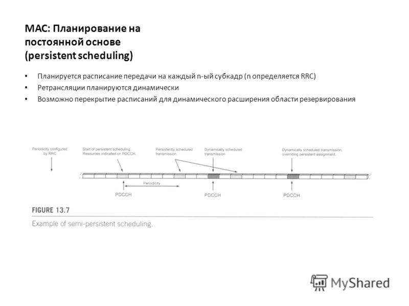 МАС: Планирование на постоянной основе (persistent scheduling) Планируется расписание передачи на каждый n-ый субкадр (n определяется RRC) Ретрансляции планируются динамически Возможно перекрытие расписаний для динамического расширения области резерв