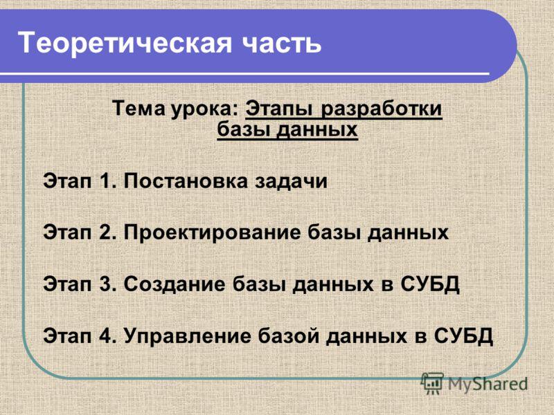 Теоретическая часть Тема урока: Этапы разработки базы данных Этап 1. Постановка задачи Этап 2. Проектирование базы данных Этап 3. Создание базы данных в СУБД Этап 4. Управление базой данных в СУБД