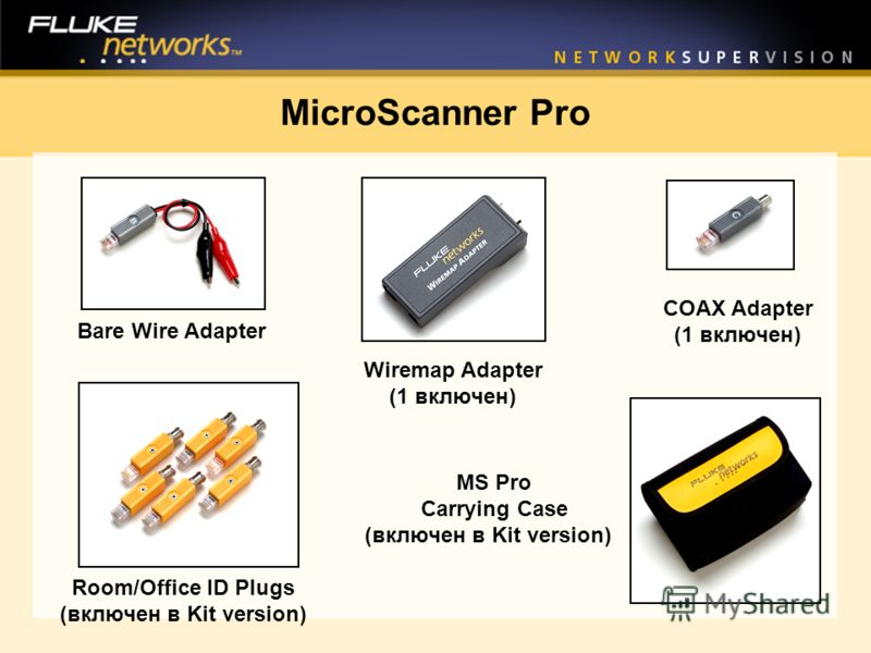 MS Pro Carrying Case (включен в Kit version) Wiremap Adapter (1 включен) Room/Office ID Plugs (включен в Kit version) COAX Adapter (1 включен) Bare Wire Adapter MicroScanner Pro