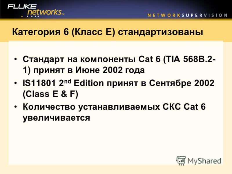 Категория 6 (Класс E) стандартизованы Стандарт на компоненты Cat 6 (TIA 568B.2- 1) принят в Июне 2002 года IS11801 2 nd Edition принят в Сентябре 2002 (Class E & F) Количество устанавливаемых СКС Cat 6 увеличивается