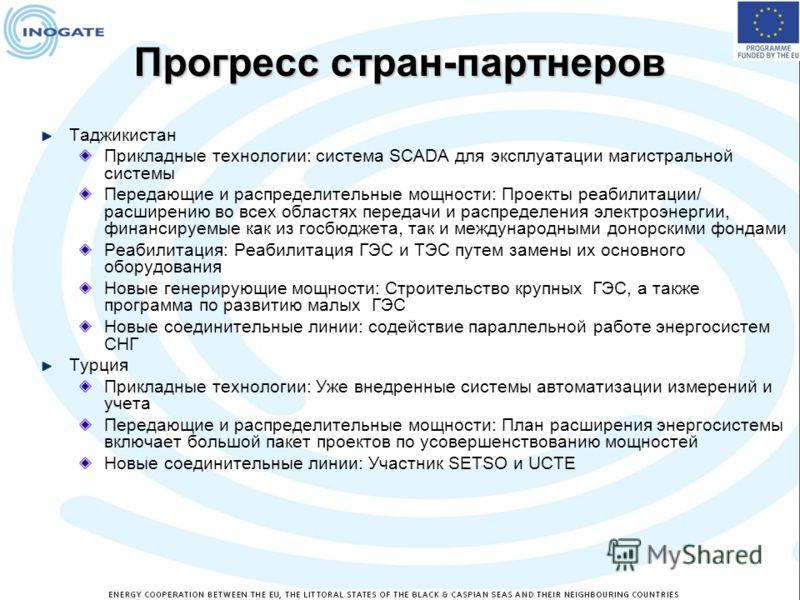 Прогресс стран-партнеров Таджикистан Прикладные технологии: система SCADA для эксплуатации магистральной системы Передающие и распределительные мощности: Проекты реабилитации/ расширению во всех областях передачи и распределения электроэнергии, финан